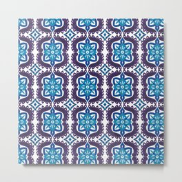 Blue purple hand painted watercolor motif pattern Metal Print