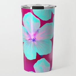 Turquoise Retro Flowers On Pink Background #decor #society6 Travel Mug