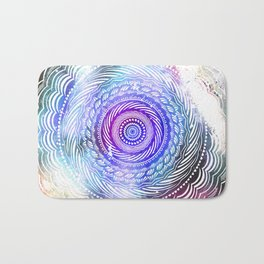 Modern Mandala Spiral Galaxy Space Textured Multi Colored / Purple Pink Orange Gray Black Bath Mat