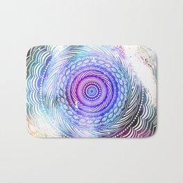 Modern Mandala Spiral Galaxy Space Textured Multi Colored / Purple Pink Orange Gray Black Bath Mat