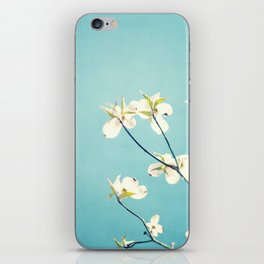 Aqua Dogwood Flower Photography, Teal Turquoise Floral Branches iPhone Skin