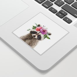 Baby Raccoon with Flower Crown Sticker