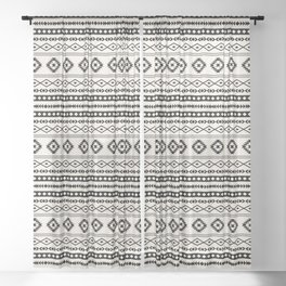 Aztec Black on Cream Mixed Motifs Pattern Sheer Curtain