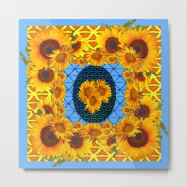DECORATIVE  BABY BLUE ART & YELLOW SUNFLOWERS Metal Print