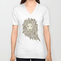 lion V-neck T-shirts featuring Lion by Vickn