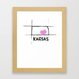 Love Kansas State Sketch USA Art Design Framed Art Print