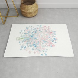 light pink and blue Baby Breath Bouquet gypsophila watercolor painting  Rug
