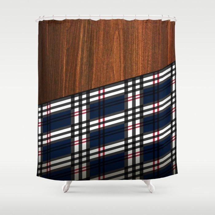 Wooden Scottish Tartan Shower Curtain