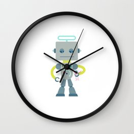 Giant silver robot with a toy human Wall Clock