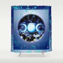 Moon Symbol and Stars Shower Curtain