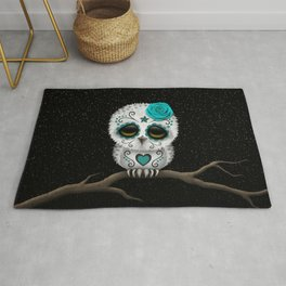 Adorable Teal Blue Day of the Dead Sugar Skull Owl Rug