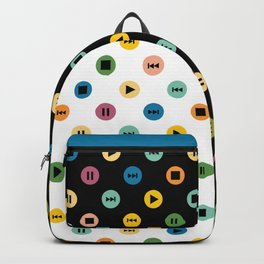 Music Player Icons Polka Dots (Multicolor on White) Backpack