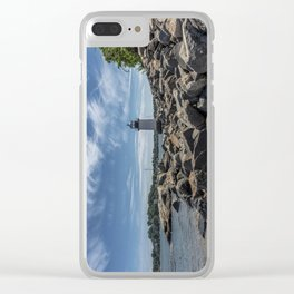 Winter Island Lighthouse Clear iPhone Case