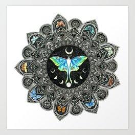 Lunar Moth Mandala Art Print