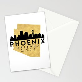 PHOENIX ARIZONA SILHOUETTE SKYLINE MAP ART Stationery Cards