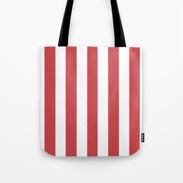 English vermillion pink - solid color - white vertical lines pattern Tote Bag