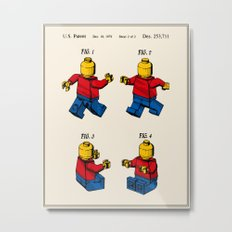 Lego Man Patent - Colour (v3) Metal Print