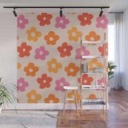 Retro 60s 70s Flowers Pattern #pattern #vintage Wall Mural