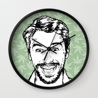 james franco Wall Clocks featuring Franco by naidl