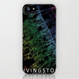 Livingston, Scotland, City, Map, Rainbow, Map, Art, Print iPhone Case