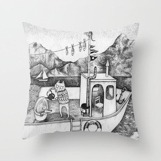 Fox on Fishing-boat Throw Pillow