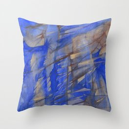 Blue & Brown Abstract Landscape - Cliff Face Throw Pillow