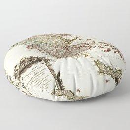 1752 Map of Greece Floor Pillow