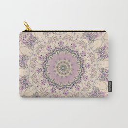 47 Wisteria Circle - Vintage Cream and Lavender Purple Mandala Carry-All Pouch