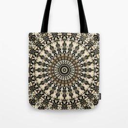 Black and Gold Filigree Mandala Tote Bag