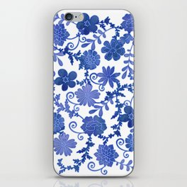 Floral China Blue Watercolor Pattern iPhone Skin