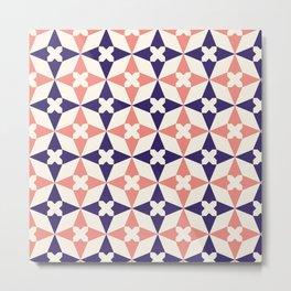 Navy Blue and Orange Moroccan Tile Pattern Metal Print