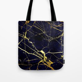 BlueBlack-Gold Marble Galaxy Impress Tote Bag