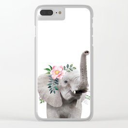 Baby Elephant with Flower Crown Clear iPhone Case