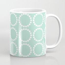 Mint White Dotted Rings Pattern Coffee Mug
