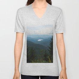 Smoky Mountain National Park -  Mountain Lake Landscape Unisex V-Neck