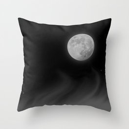 Moon Sky // La Luna in the Dark Night Clouds Stars Full Glowing Dream Like Fantasy Throw Pillow