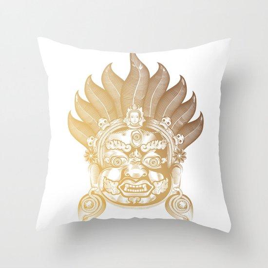 Akash Bhairav in Gold Throw Pillow