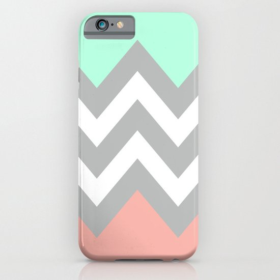 DOUBLE COLORBLOCK CHEVRON {MINT/CORAL/GRAY} iPhone & iPod Case