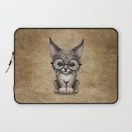 Cute Baby Lynx Cub Wearing Glasses Laptop Sleeve
