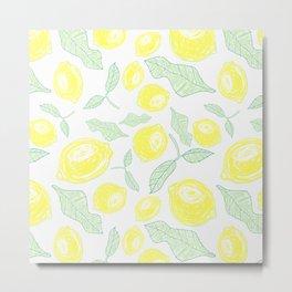 Freshy lemon fruit beautiful pattern on white backgroung Metal Print