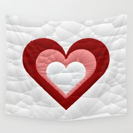 Quilted Red White Pink Simple Heart Design Wall Tapestry