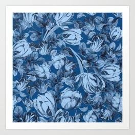 Blue Botanical Florals Design Art Print