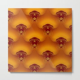 Gold Red Floral Filigree Pattern Metal Print