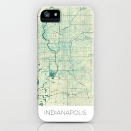 Indianapolis Map Blue Vintage iPhone Case