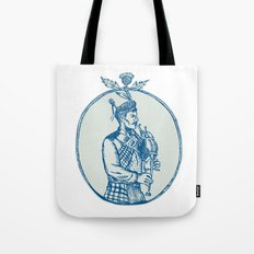 Scotsman Bagpiper Playing Bagpipes Etching Tote Bag