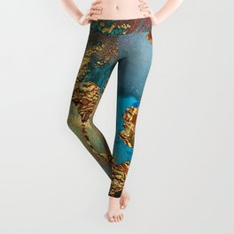 Abstract Blue And Gold Autumn Marble Leggings
