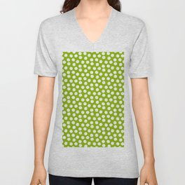 White Polka Dots on Fresh Spring Green - Mix & Match with Simplicty of life Unisex V-Neck