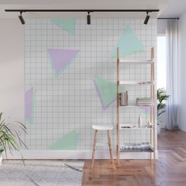 Cool-Color Pastel Triangles on Grid Wall Mural