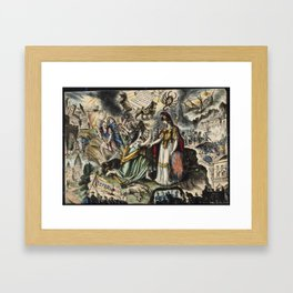 Raphael's Prophetic Almanack: beggars at a rich man's door, a funeral, and a shipwreck (1852) Framed Art Print