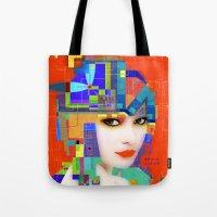 nouveau Tote Bags featuring Nouveau Girl 2 by Steve W Schwartz Art